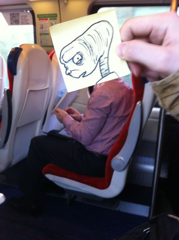 UK-writer and illustrator October Jones regularly spices up his monotonous commute with these funny little drawings that playfully replace fellow commuters