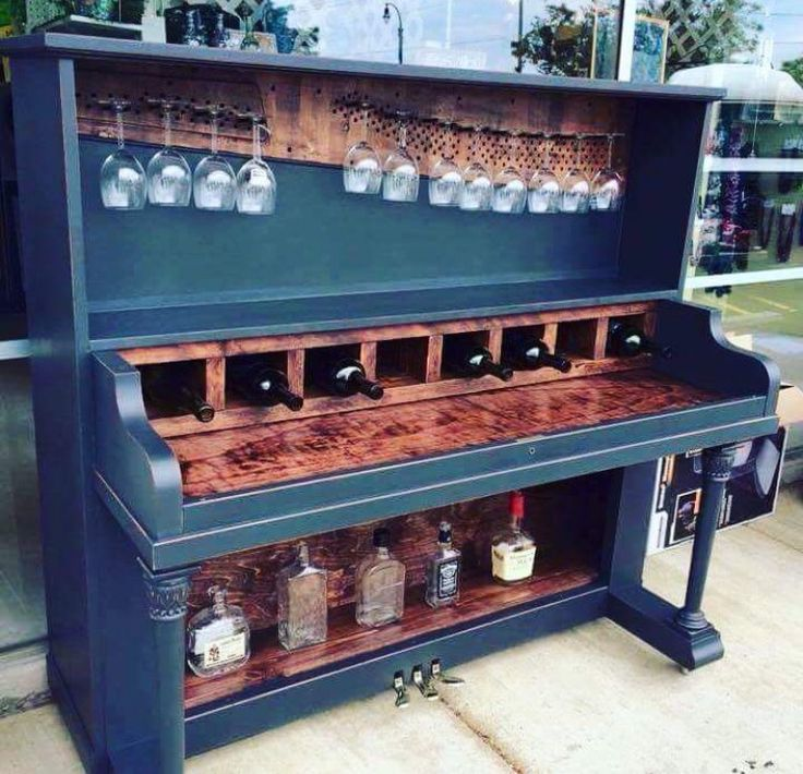 Old piano turned bar! Love.