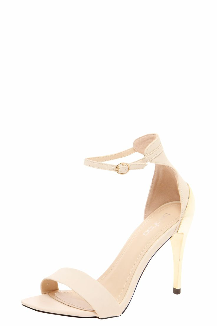 Carrie Ankle Strap Metallic Heel Sandals