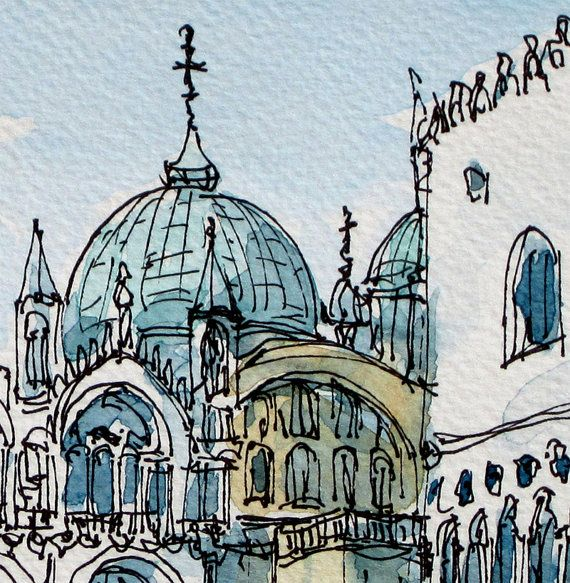 Venice St Marco Square art print  from an original watercolor painting