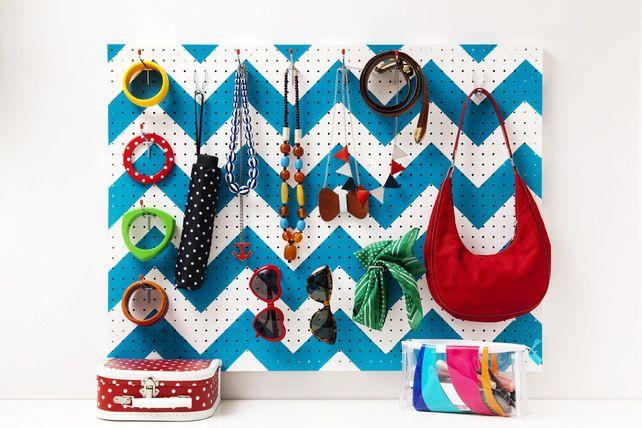 Pegboard - Chevron Zigzag - essential storage organiser - jewellery / bags / display / wardrobe / bedroom / colourful - £45 Folksy
