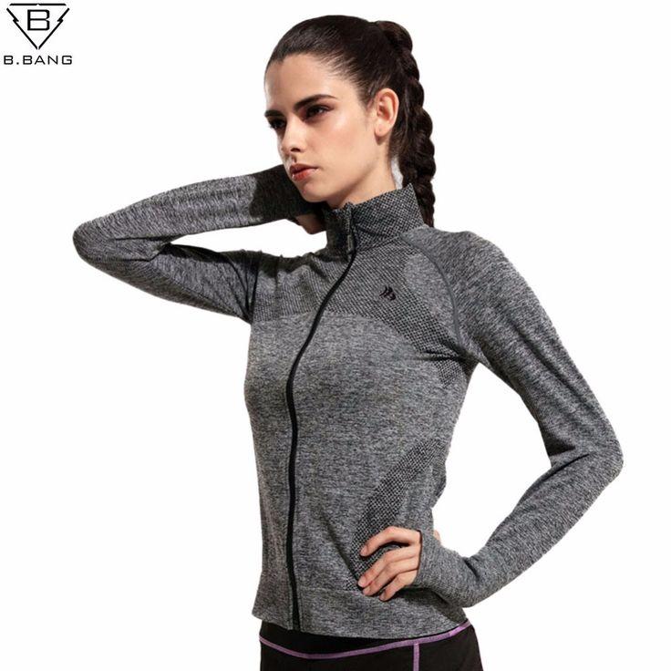 B. BANG Donne Quick Dry Sport Giacche a maniche lunghe Felpa per La Donna Vestiti per Correre Fitness Sport Della Chiusura Lampo in pile Tuta Sportiva