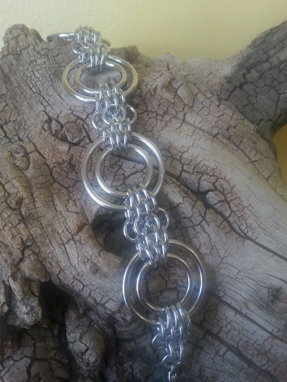 Lunar Moth Chainmaille Bracelet in Aluminum by Gen3studioS on Etsy, $28.00