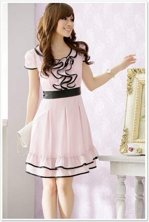 Model 2016 New Fashion Korean Style Dresses For Women Cute Dot Print Women