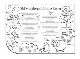 pNursery rhymes are a great way to introduce your child to rhythm, music and early literacy and numeracy skills. Print this nursery rhyme lyrics activity, so your child can have fun colouring in the picture and singing along to Old MacDonald had a farm!/p