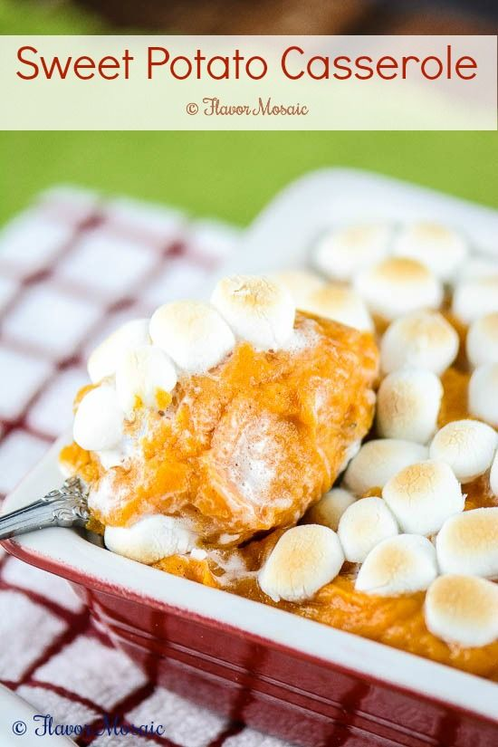 Sweet Potato Casserole with Marshmallows is a traditional Thanksgiving side dish.
