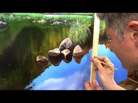 Painting tutorial, how to paint rocks and reflecion on water. Nice music. THIS ROCKS! - YouTube. Please also visit www.JustForYouPropheticArt.com for more colorful art you might like to pin. Thanks for looking! #OilPaintingWater