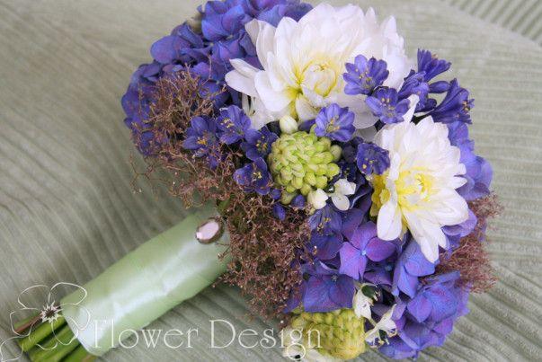 Свадебные букеты Домодедово. Букет невесты Домодедово. Синий букет невесты.  Букет невесты с гортензией и георгинами. Wedding bouquet. Blue bouquet.