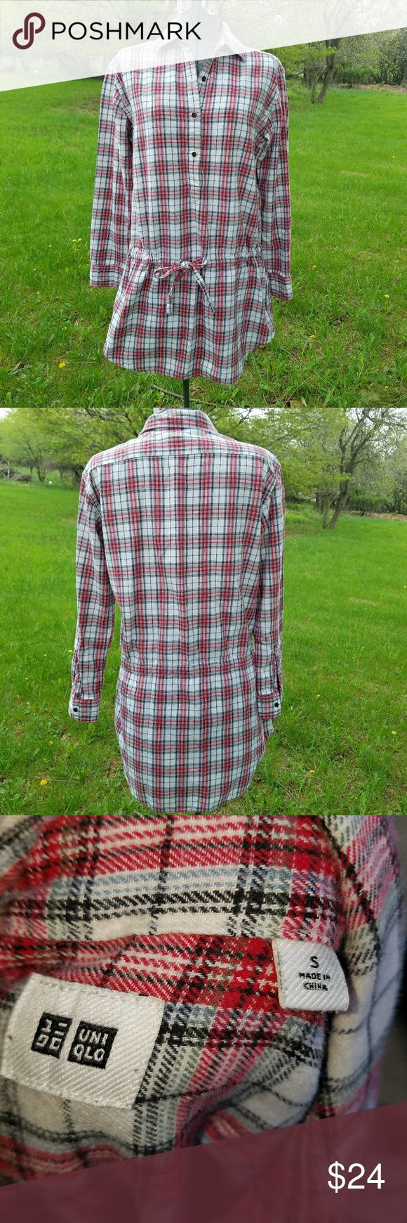 Uniqlo tunic dress Red and white plaid boyfriend style dress with drawstring Uniqlo Dresses Long Sleeve