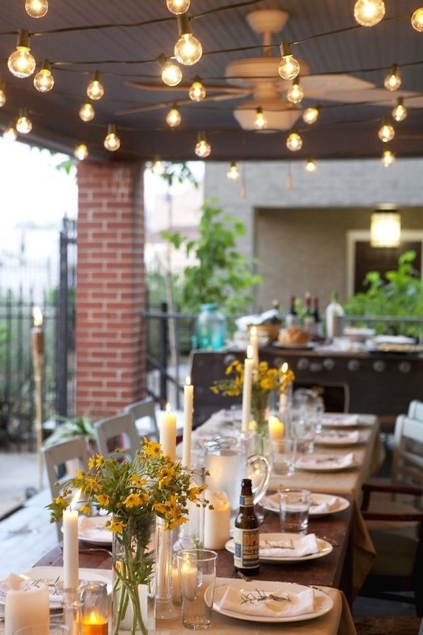 Outdoor Dinner by Twinkle Light