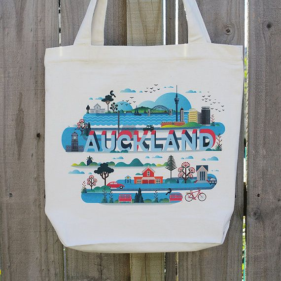 Auckland Canvas Tote Bag by ReneeChin on Etsy