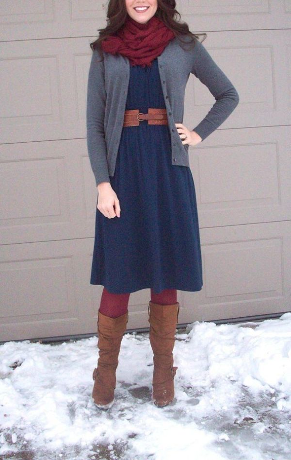 Maroon tights & scarf, navy dress, gray sweater, brown belt and brown boots. Modest winter fashion