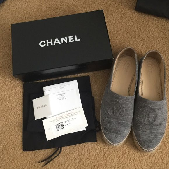 Chanel grey espadrilles Grey suede Chanel espadrilles. There are water marks on the shoes, I do not know if there is a way to make those come out. But other than that, they are in great shape. Originally purchased new from fashionphile. Come with box, fashionphile authenticity and receipt, and 2 Chanel shoe dust bags. CHANEL Shoes Espadrilles