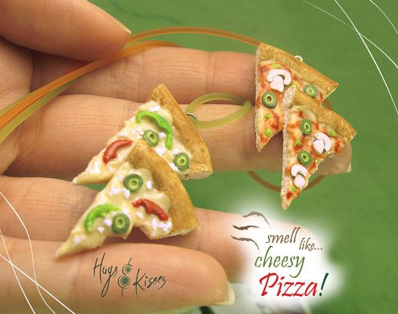 Scented Pizza Necklace, Pizza Slices Jewelry, Italian Mini Food Jewelry, Italian Pizza Jewelry, Polymer Clay Food Necklace, Kawaii Jewelry