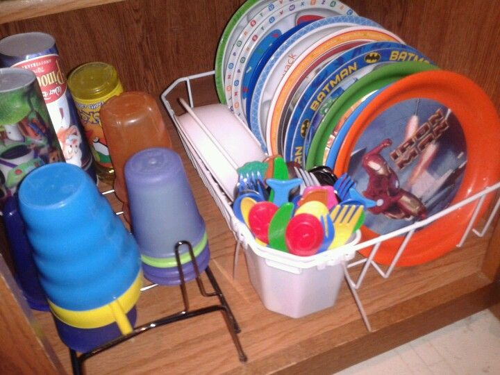 Use a dish drainer & shoe stand to organize kid dishes  in bottom cupboard... it is an easy way 4ur child 2set the table & put away their dishes...