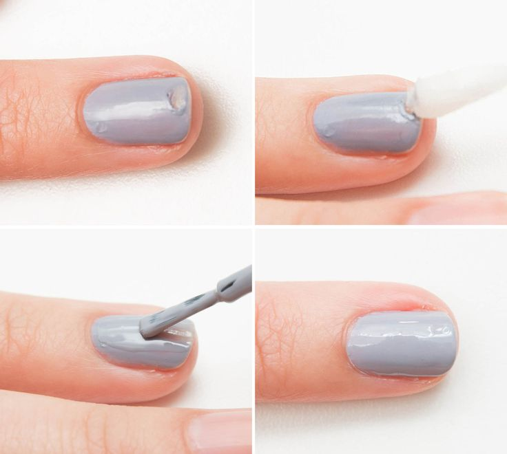 If you chip or smudge a nail, smooth the polish ridge with a cotton swap dipped in polish remover. Otherwise if you just paint over it without smoothing it out, you'll get a bumpy nail.