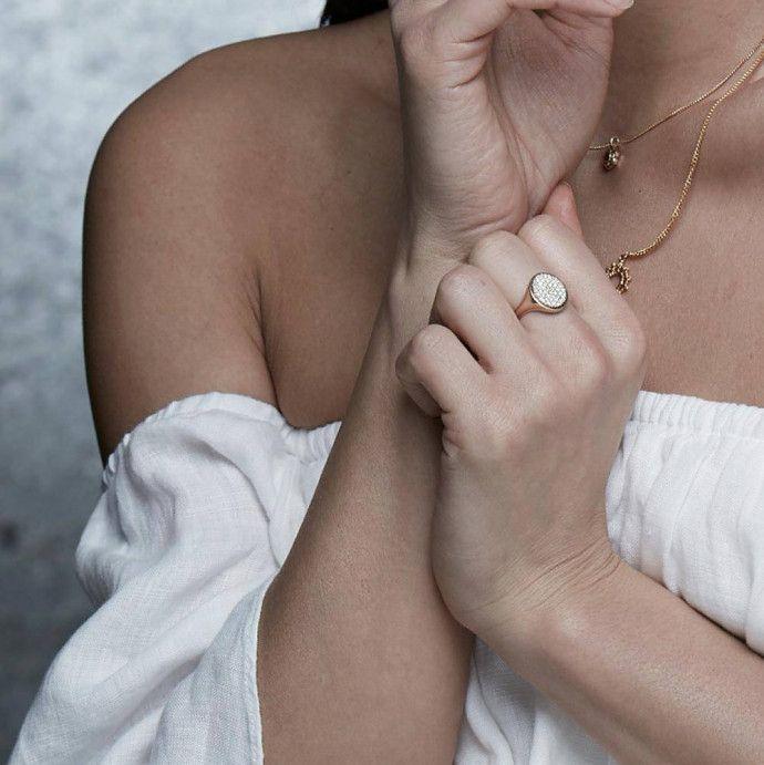 Oval Diamond Signet Ring