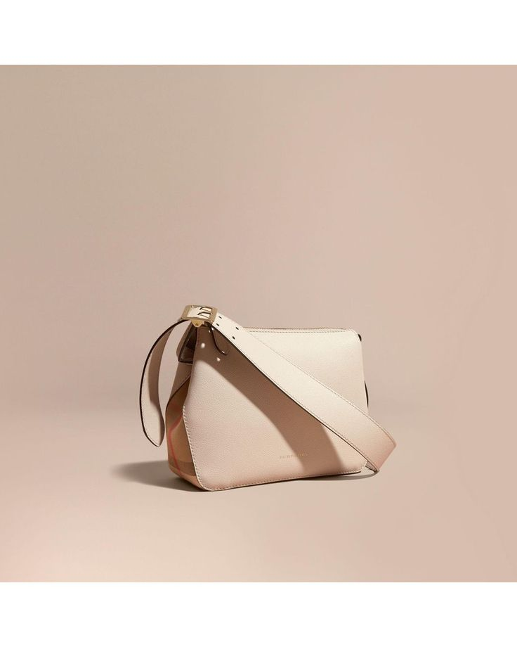 Burberry   Multicolor Buckle Detail Leather And House Check Crossbody Bag Limestone   Lyst