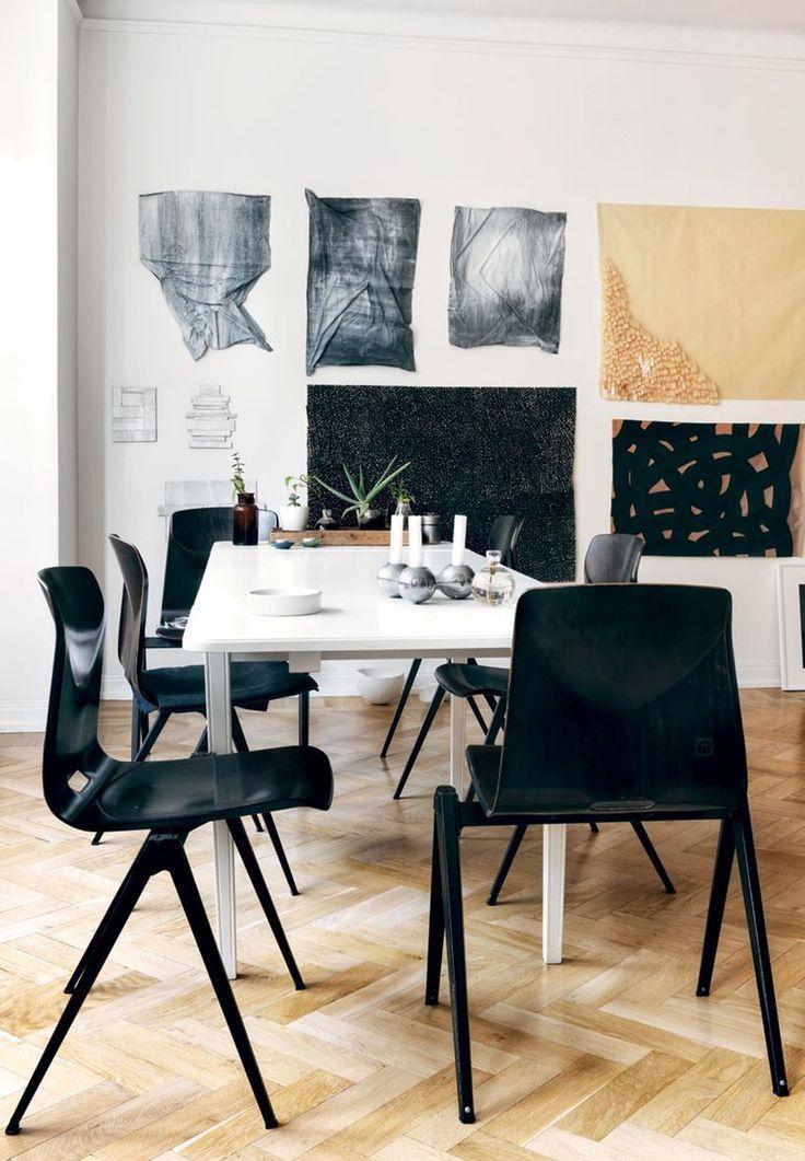 Papirkunst på væggen og maling på gulvet