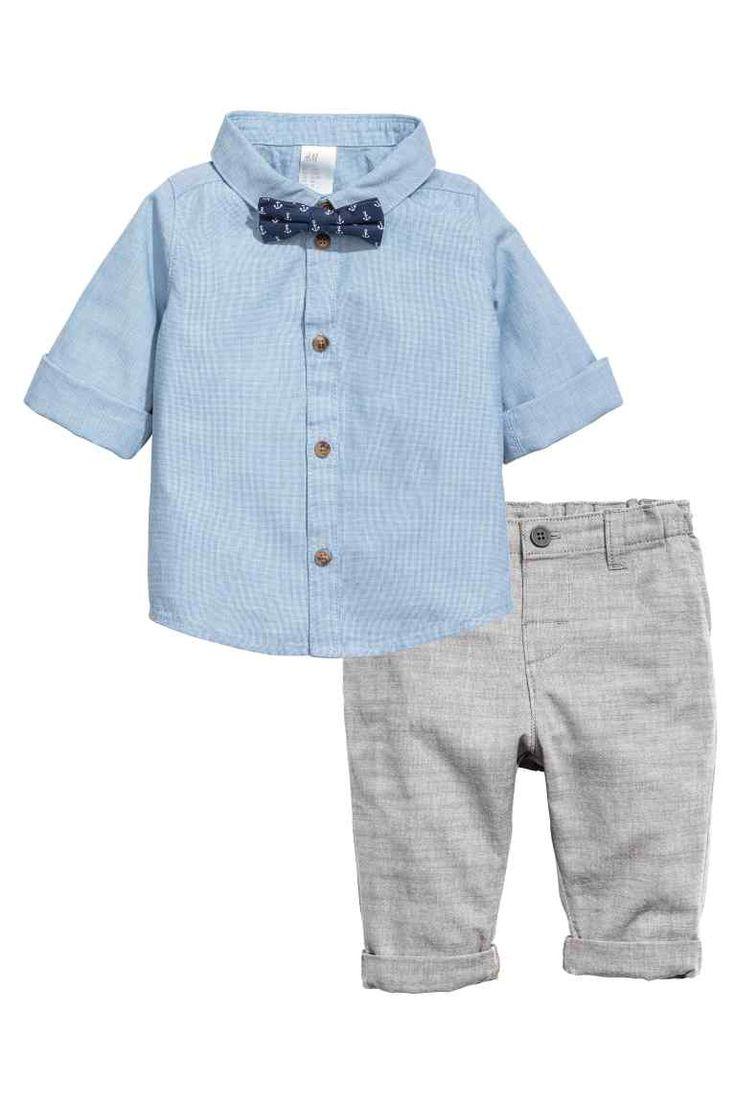 Camicia e pantaloni - Azzurro/grigio - BAMBINO | H&M IT 1