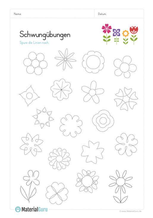Ein kostenloses Arbeitsblatt mit Schwungübungen in Verbindung mit Blumen und Blüten. Jetzt kostenlos downloaden!