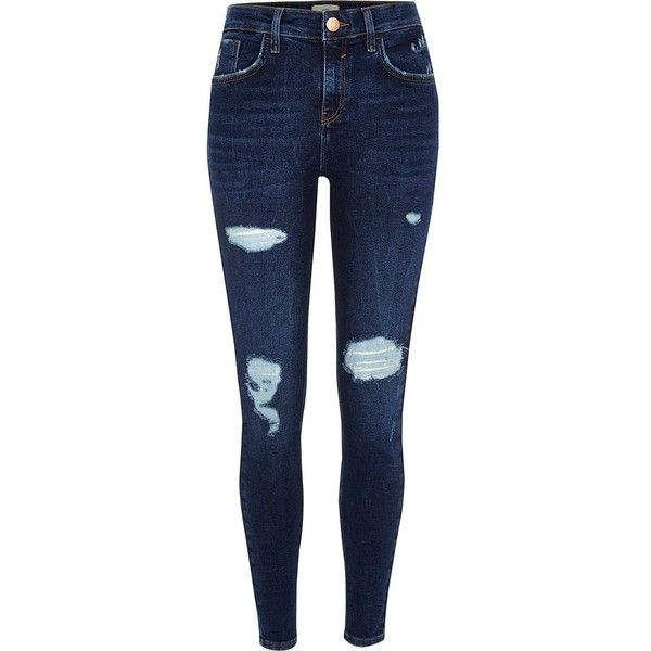 River Island Blue Amelie ripped super skinny jeans ($90) ❤ liked on Polyvore featuring jeans, blue, skinny jeans, women, tall skinny jeans, destroyed skinny jeans, denim jeans, distressed jeans and ripped skinny jeans