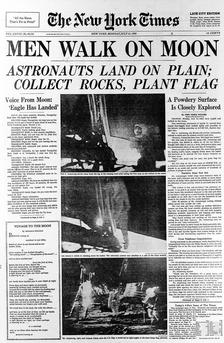 Front page New York Times Moon landing