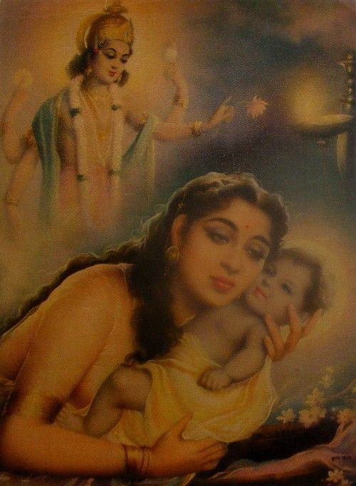 Devaki, fearing Kamsa who had vowed to kill her eighth child, Krishna (who was immaculately conceived btw)