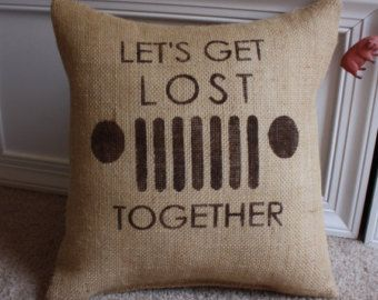 Let's Get Lost Jeep Pillow/CJ 7 Pillow by HeSheChic on Etsy