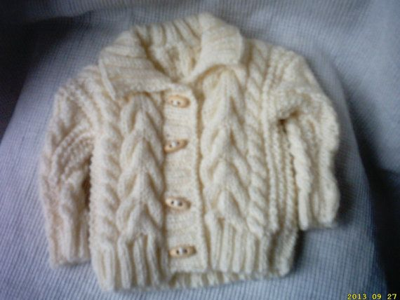 hand knitted irish aran boys cardigan and hat age by crochetfifi