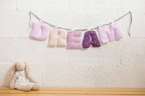 Dream banner, Children room decor, Baby room letters, Inspiration quote kid wall art