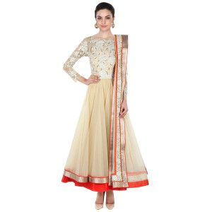 Sharp Cream And Red Net Anarkali Suit.