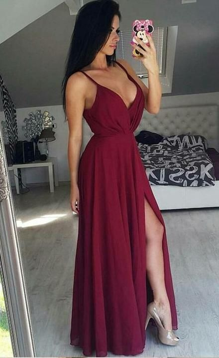 Sexy Prom Dress with Slit, Wedding Party Dresses, Formal Dresses, Back to School Dress