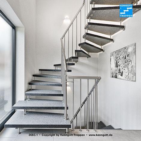 KENNGOTT-TREPPE VERDI Stufen Graphitblack Freitragende KENNGOTT-TREPPE 2x1/4 gewendelt, Stufen Graphitblack Granit geflammt und gebürstet (rutschhemmende Oberfläche R9), Geländersystem VERDI Edelstahl