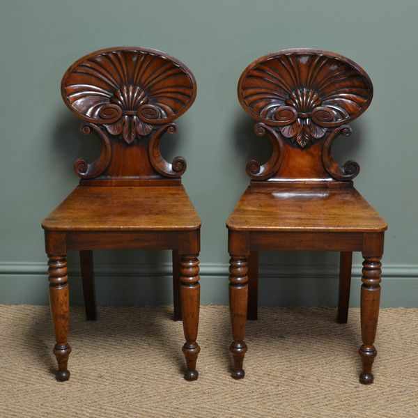 ~ Spectacular Gillows Design Early Victorian Shell Carved Pair of Antique Mahogany Hall Chairs, c. 1830 United Kingdom ~ onlinegalleries.com