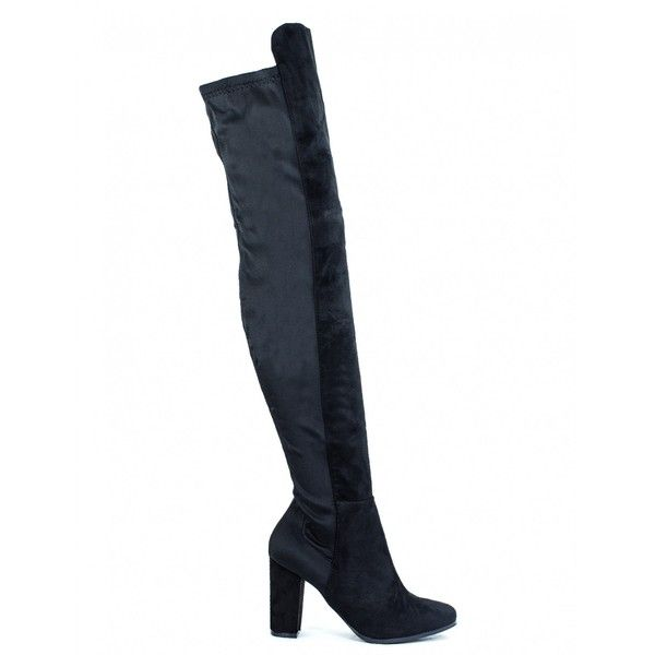 SWITCH LANES BLACK FAUX SUEDE THIGH HIGH HEELED BOOTS ($20) ❤ liked on Polyvore featuring shoes, boots, black over the knee high heel boots, over the knee high heel boots, stretch over the knee boots, black over the knee boots and over-the-knee high-heel boots