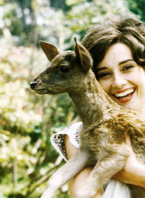 Audrey and her pet deer.