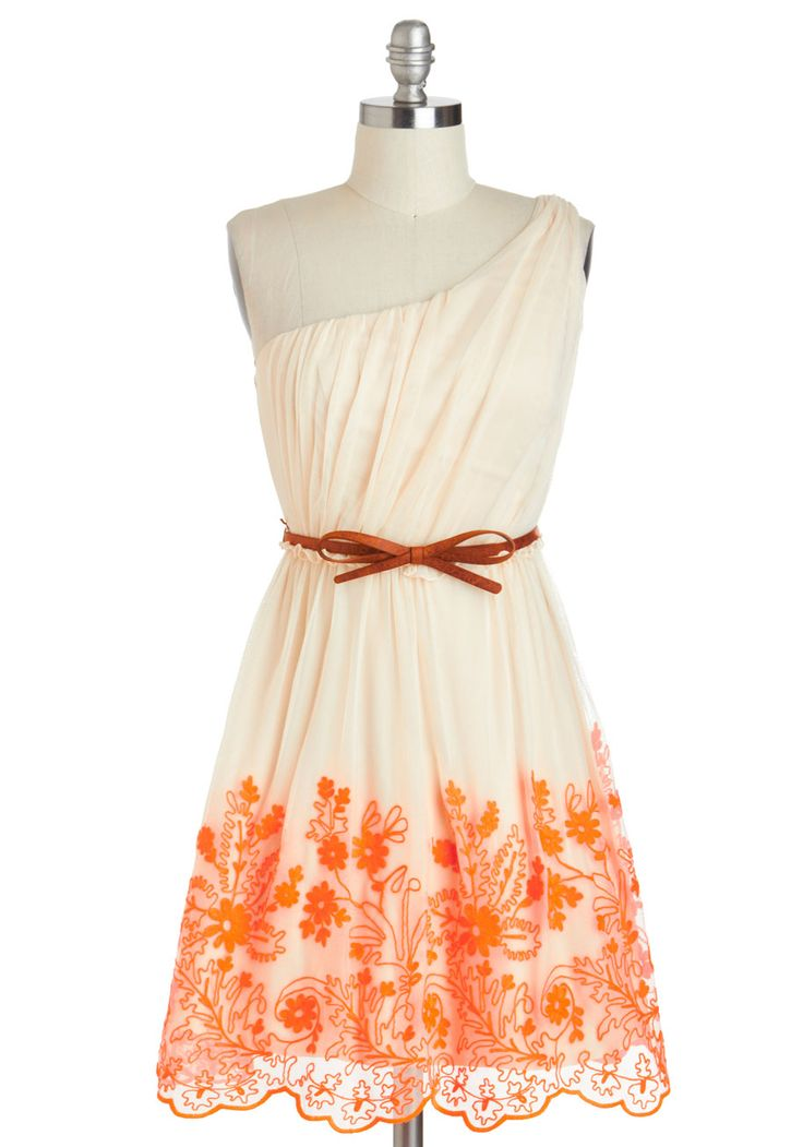 Going Acoustic Dress - Cream, Orange, Bows, Embroidery, Daytime Party, A-line, One Shoulder, Belted, Neon