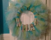 Baby shower wreath with all the bells and whistles for the new baby! Colors can be personalized.