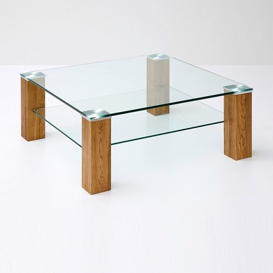 Conway Glass Coffee Table Square In Clear With Knotty Oak Legs. this combination of Glass and Wood makes a remarkable value in your home décor Finish: Clear Glass And Knotty Oak Features: &b...