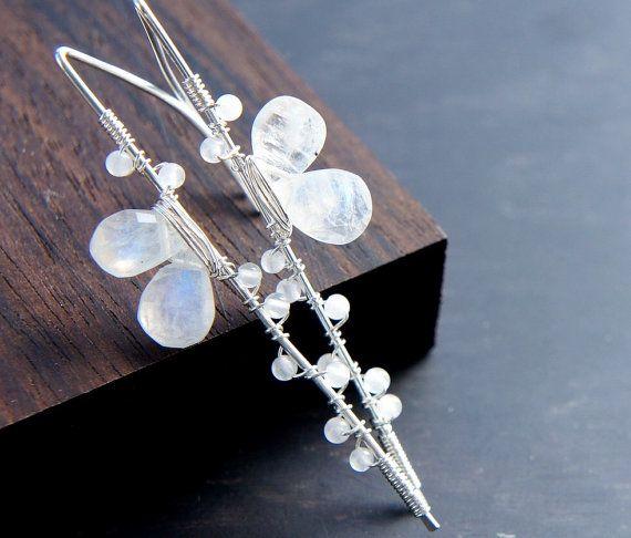 Pendientes piedra de luna blanco plata de pendientes joyas
