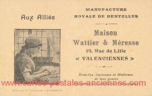 Ancienne carte publicitaire pour une dentellière.
