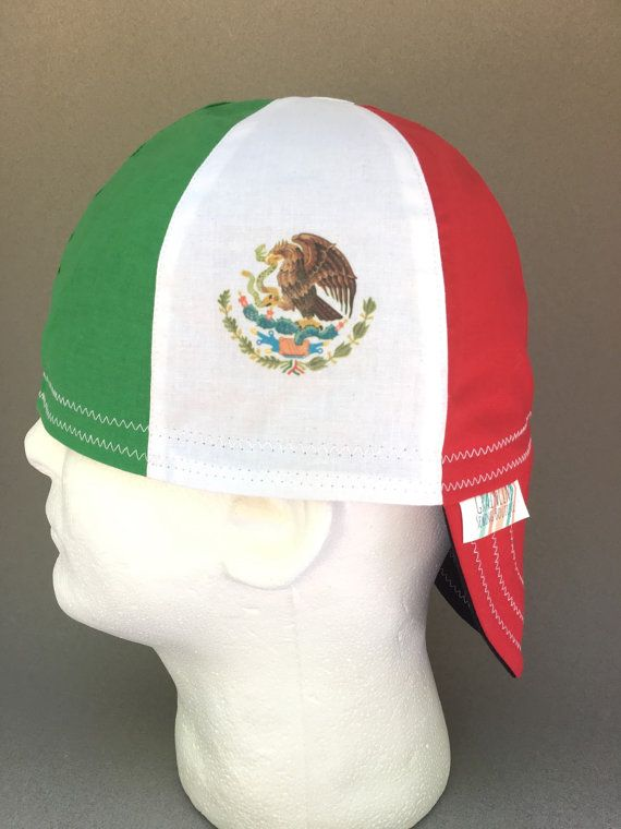 Reversible Welding Cap- Mexico Flag (Cap in photo is a sample only.)  **All caps are made from 100% Cotton fabric and pre-washed to reduce