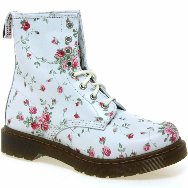 Dr. Martens Womens Portland Rose Print Leather Lace Up Boots