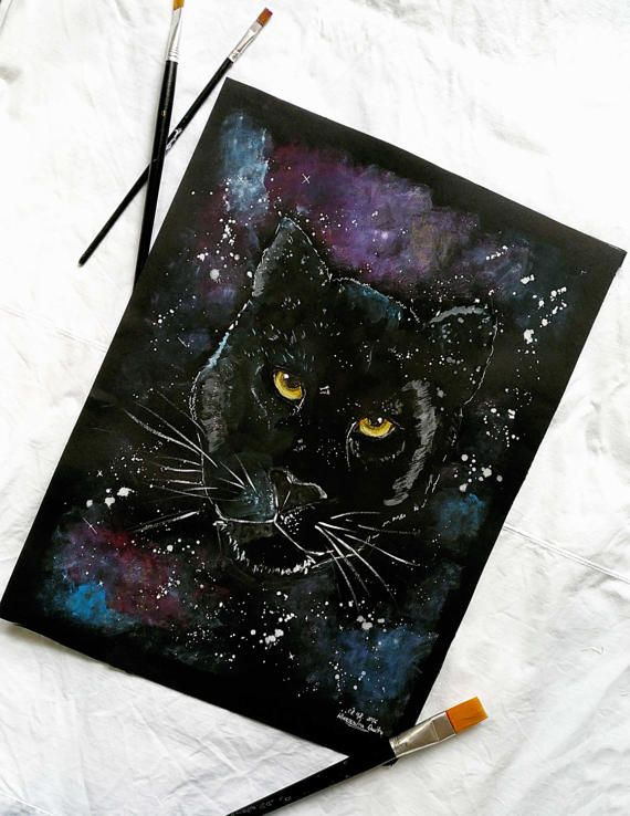 Black puma painting  Acrylic painting by MagicMintHandmade on Etsy