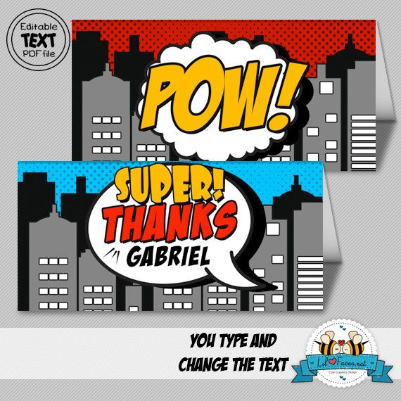 INSTANT DOWNLOAD Editable Pop Art SuperHero Bag Topper - Goodies/Treat Bag- Super Hero Birthday Party - Comics Pop art -Printable pdf via Etsy