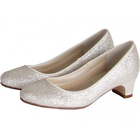 Sasha by Rainbow Club Kids Collection Silver Shimmer Glitter Dyeable Bridesmaid or Holy Communion Shoes (Size 2-5)