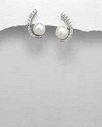 *BRIDAL* 925 Sterling Silver Freshwater Pearl & CZ Curved earrings: Freshwater Pearl, Curved Earrings, Sterling Silver, Cz Curved, 925 Sterling, Silver Freshwater