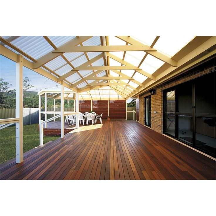 Softwoods 4.8 x 3.8m Pre-Cut Gable Attached Pergola Kit Suntuf Standard