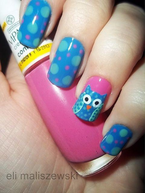 дизайн ногтей сова  синяя